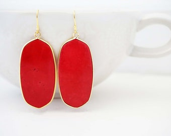 Red and Gold Statement Earrings