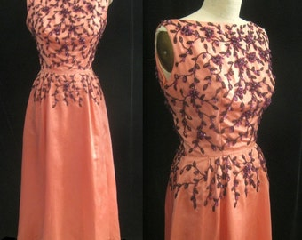 Vintage 50s 60s PROM DRESS  Pink SATIN with Beaded Bodice Homecoming Gown  Bust:  Small