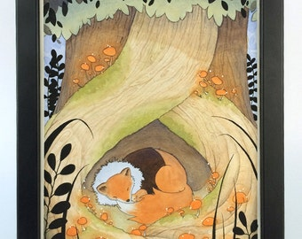 Children's Illustration in watercolor. Original painting of a fox and a hamster sleeping.