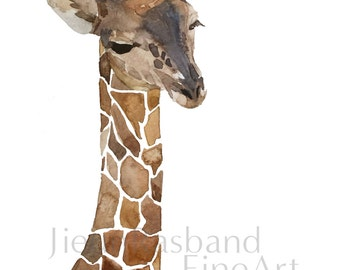 "Baby Giraffe-16""x20"" water color , instant print, print art, nursery decor, wall decor, animal print,printable art"