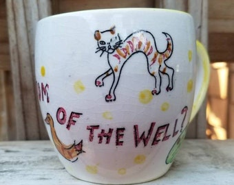 Vintage Nasco Whats At The Bottom Of The Well Cup, Childs Mug, 1950s Mystery Mug, Brown Bear