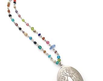 locket & rosary bead necklace, long locket necklace, oval locket necklace, silver tone oval locket, rosary bead necklace, locket jewelry
