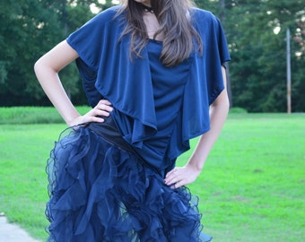 Women's Ruffle Skirt Frilly Sheer Organza Tulle Bubble Navy Blue Black Size 3 Knee Length Formal Party