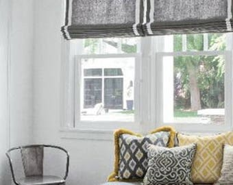 """Flat Roman Shade with valance """" Gray with White border""""with chain mechanism, Windows Treatment, custom made"""