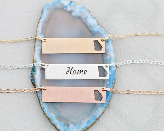 SALE • Georgia State Necklace • Georgia Jewelry • Rose Gold Bar Necklace • State Charm • Location Jewelry • Long Distance Relationship Gift