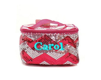 Monogrammed Hot Pink Sequin Cosmetic Bag - Personalized with Name or Initials