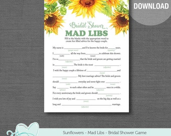 Sunflowers Mad libs Bridal Shower Game Printable, Flowers, Floral, Yellow, Bridal Mad Libs, Guest Libs, 40S