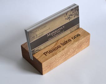 Personalised Wooden Business Card Holder - cherry wood - UK Craftsman