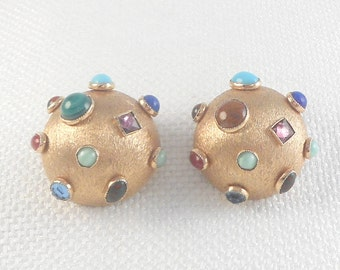 Vintage Bergere Dome Earrings with Many Stones Variety of Bezel Set Stones Earring 60's Bergere Clip Earrings Bergere Colorful Dome Earrings