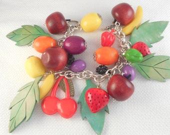Vintage Colorful Carmen Miranda Fruit Bracelet Fruit and Leaves Charm Bracelet Statement Fruit Bracelet Wood and Celluloid Charm Bracelet
