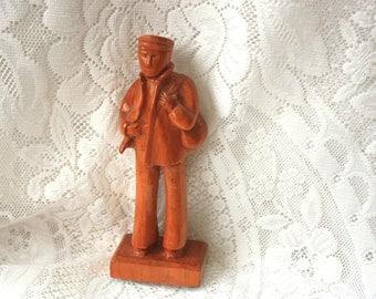 Hand Carved Wood Man, Signed Carving of Man in Hat, Vintage Wood Carving, Folk Art