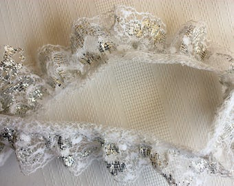 Three Yards of Silver Lace, Gathered Silver Lac, Silver Gathered Lace Vintage Wedding Lace Silver Anniversary Lace width 1 1/8 inches,  lace