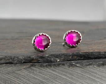 Pink Tourmaline Stud Earrings, Tourmaline Earrings, Stud Earrings, Handmade Earrings, Minimalist Jewelry, Dainty Jewelry, Gift Earrings, 4mm