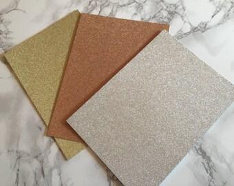Glitter Paper, Silver Glitter Paper, Gold Glitter Paper, Rose Gold Glitter paper, Glitter Wedding Invitation Paper