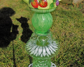 Teapot Totem, Garden decoration, upcycled glass, garden whimsey, glass garden art repuposed, Totems,home decor, porch. teapot enthusiast!