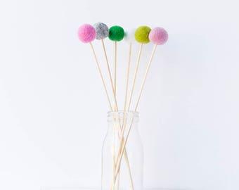 Wool Felt Ball Flowers. Pom Pom Flowers Posy. Wool Craspedia. Billy Buttons Balls. Home Decor. Felt Ball Posies. Pink Green Grey White