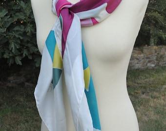 "Handkerchief, Carré of 110 x 110 cm. (44 ""X 44"") 100% natural hand painted, unique silk. Ponge 10, NY1003-Psyco 3"