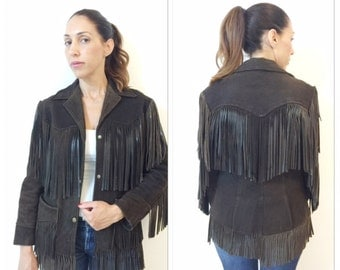 Brown Leather fringed jacket // vintage 60s 70s jacket // Brown Suede Fringe Jacket // Suede Leather Fringe Jacket // Boho Jacket
