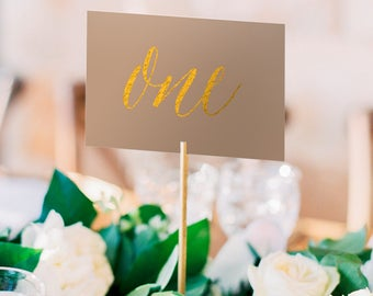 Asterism Gold Foil Table Numbers - Natural Paper - Two Sided - Wedding Table Numbers with Gold / Silver / Rose Gold Foil by Pineapple