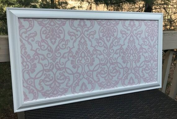 long narrow framed cork bulletin board magnetic pink damask. Black Bedroom Furniture Sets. Home Design Ideas