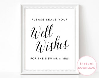 Well Wishes Sign, Printable Wedding Signs, Printable Wedding Poster, Wedding Sign, Guestbook Sign, Well Wishes Poster, Well Wishes Poster