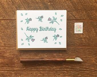 Happy Birthday Roses Card, Birthday Card, Letterpress Folded Card, Blank Inside