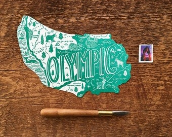 Olympic Postcard, Olympic National Park, Die Cut Letterpress National Park Postcard
