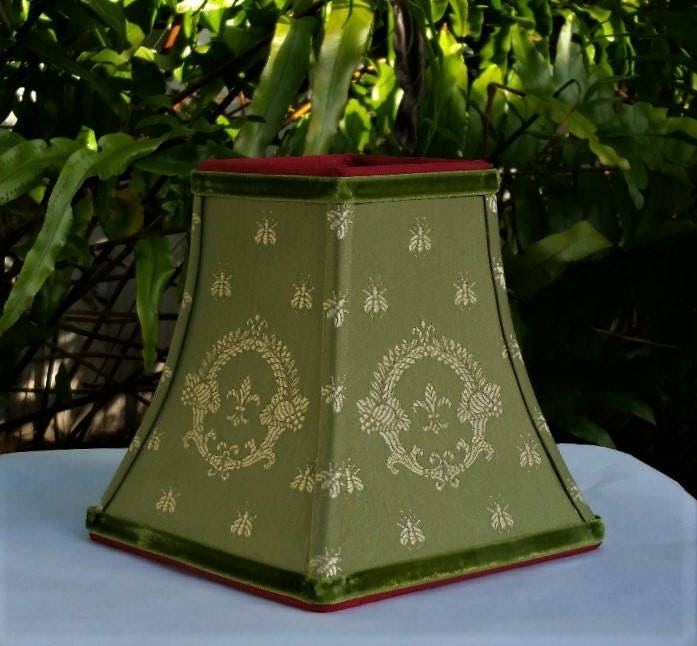 Lampshade embroidered bees olive gold cranberry fleur de lis lampshade embroidered bees olive gold cranberry fleur de lis napoleon bee moss green velvet chandelier sconce custom table lamp mozeypictures Image collections