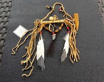 Native American Medicine-Peace Pipe: Copyright-Arist N Long. Medicine Bag, ArrowHead, Wood, Leather, Feathers, Hanger. Kokopelli Bowl.