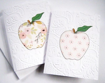 Apple note cards, Embossed note cards, Thank you, thinking of you, Gift ideas, Teacher Gift, blank, apple clip art, Embossed stationery set