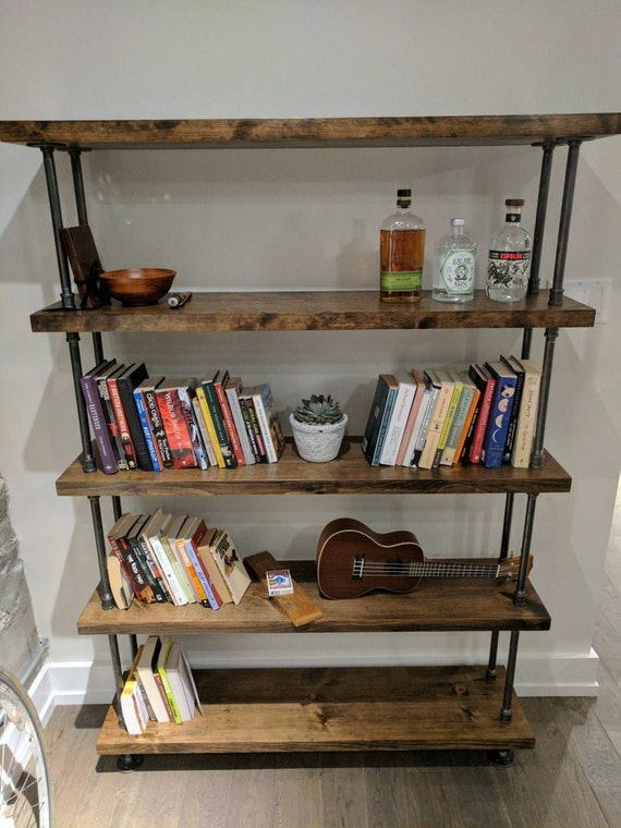 Industrial pipe and wood bookcase || rustic wood metal bookcase || rustic  wood and steel bookshelf || Freestanding rustic shelving unit