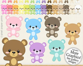 Bear clipart - CUTE BEAR - Digital Clip Art  - Personal and commercial use