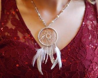Dreamcatcher necklace, hemp dream catcher necklace, ivory cream & pearl hemp necklace dream catcher pendant, boho necklace, feather jewelry
