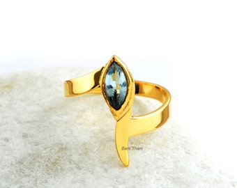 Aqua Ring-Aqua Quartz-Marquise 4x8 mm-18K Gold Plated-925 Sterling Silver-Handmade Ring-Valentine's Day Gift Jewelry for Her