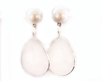 Pearl Stud Earrings with White Stone Dangle / Handmade Stud Hanging Earrings / Pearl Wedding Jewelry / Cute Earrings / White Pearl
