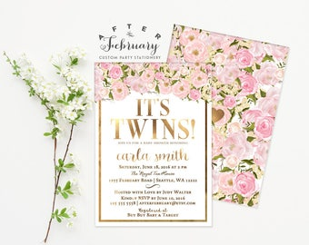 Twins Baby Shower Invite, Blush Pink and Gold Baby Shower Invitation, Floral Baby Shower Invitation Girl Printable No.1001BABY