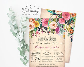 Sip and See Invitations Girl, Sip and See Invite, Meet and Greet Invitations, Welcome Baby Shower Invitation Watercolor Printable No.745BABY