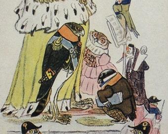 """Illustrator Rachev. Vintage Soviet Postcard """"Eagle"""" Saltykov-Shchedrin fairy tale - 1957. Sovetskiy hudozhnik"""