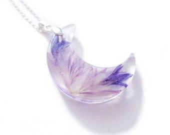 Med Crescent Blossom Resin Necklace #1 -  Pressed Flowers Moon - Celestial Jewelry- Goddess Jewelry- Luna - Blue Purple - ValenwoodVixen