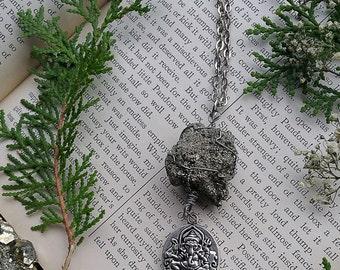 Silver Ganesha Pyrite Crystal Necklace