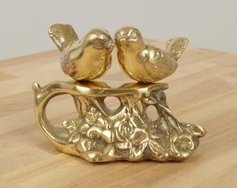 Love Birds    Vintage Solid  Brass sculpture     Heavy