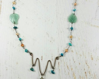 Jade Turquoise Agate Necklace, Yoga Jewelry, Bohemian Good Vibes, Healing Gemstones, Meditation, Nature Inspired, Leaves, Copper, Wanderlust
