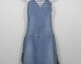 Vintage 1990s Novelty Strapless Denim Mini Wiggle Dress Light Wash / Size M/L / 90s Hip Hop Rocker Hipster