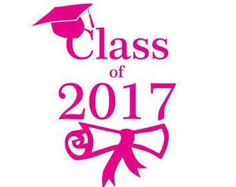 Class of 2017 Decal:  Graduation Party Decor, Graduation Gifts, Graduation Hat Decal, Decals for Teens, Gifts for Teens, Christmas Gifts
