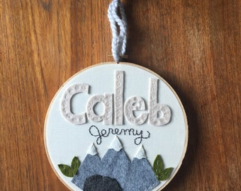 "8"" UNISEX MOUNTAINS with Name- Personalized Name Embroidery Hoop Art made with Felt Mountains and Leaves"