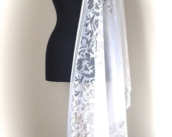 White Lace  Bridal Shawl,  A lovely Gift for Your Bridesmaids, Lace White Wedding Shawl, Soft Tulle White Elegant Scarf, Fine Shoulder Wrap