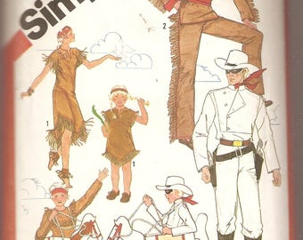 VINTAGE Simplicity Sewing Pattern 5298 - COSTUMES - Lone Ranger, Tonto, Scout and Silver - Size 6-8