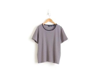 Striped T Shirt Indie Clothing French Stripe Tee Striped Ringer TShirt Stripe Ringer Tee White Navy Stripe Shirt Womens Tee Medium Large XL