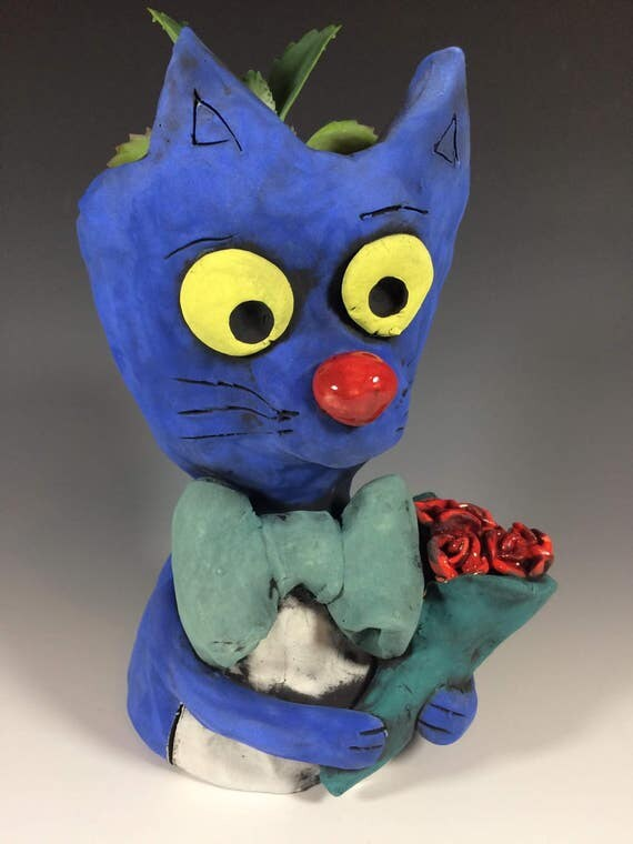 Romeo Cat with Roses // Cat Planter // Succulent Planter // Animal Pot // Planter Lover // Cat Lover