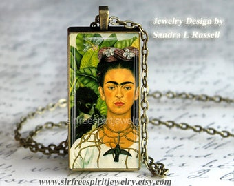 Boho Chic Jewelry, Frida Kahlo, 1x2 Glass and Metal Pendant, Art, Cat, Monkey,Green, Flowers, Woman Artist, Mexican Artist,